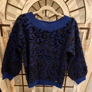 Blue soft fuzzy leopard sweater with puff sleeves